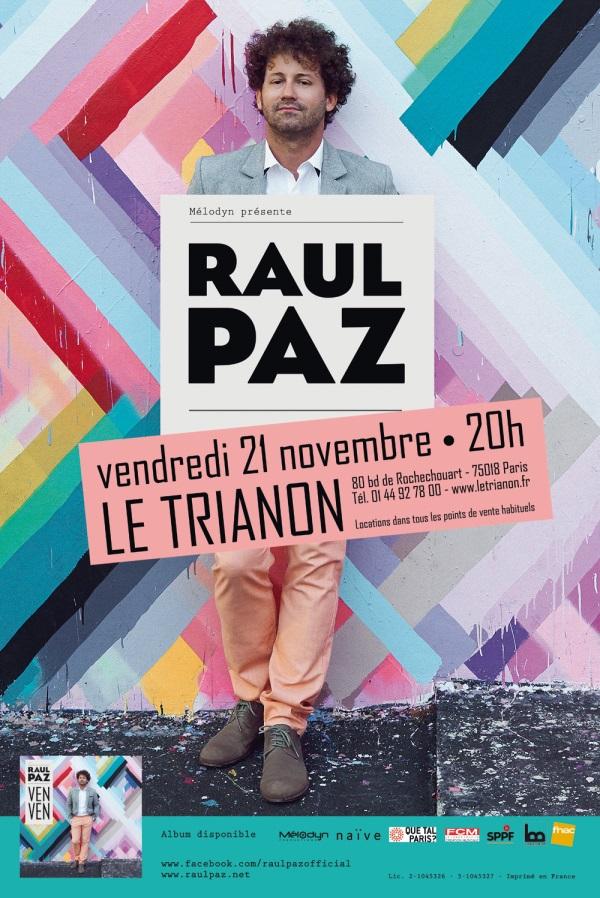 RAUL PAZ en concert à Paris le 21 novembre !